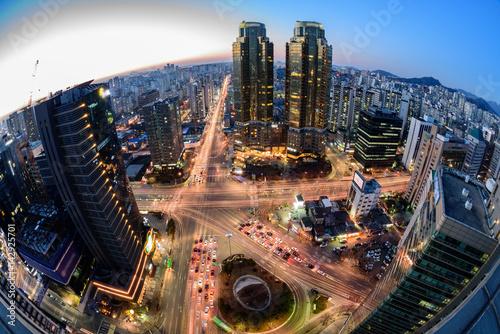 Korea,Seoul city skyline at night Poster