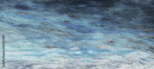 Abstract night cloud sky dark blue oil paint background with brush stokes on canvas.