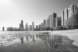 Black and white picture of Chicago waterfront skyline in the morning, view from the Michigan Lakefront, Illinois, USA.