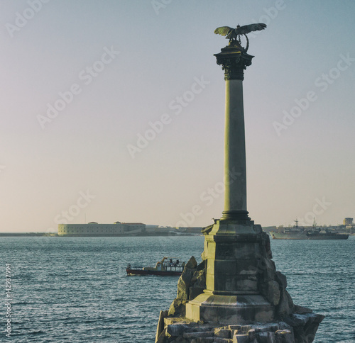 Monument in sea Statue Summer day Poster