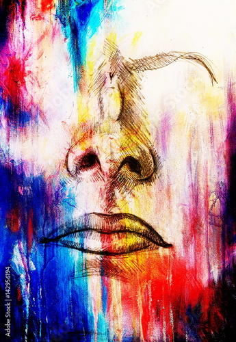 artistic sketch of face parts, nose and mouth, on colorful structured abstract background.