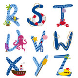 alphabet nautical from R to Z - vector illustration, eps