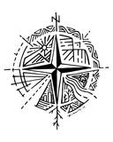 Hand drawn compass and symbols vector illustration - 142965974