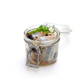 Pickled  herring isolated on white background - 142967338