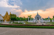 Wat Rong Khun()at sunset in Chiang Rai,Thailand.03/04/2017 Wat Rong Khun is modern building, well known worldwide.It was  designed by  Chalermchai Kositpipat.