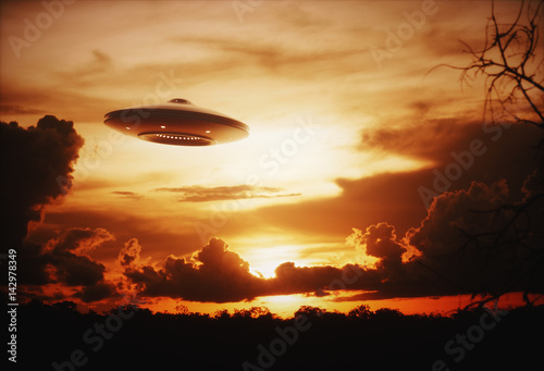 Foto op Canvas UFO 3D illustration with photography. Alien spaceship under the sunset.