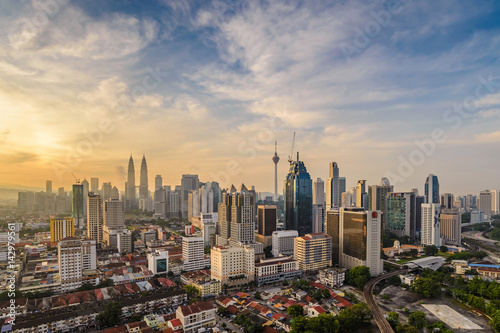 Poster Kuala Lumpur city skyline when sunrise, Malaysia
