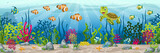 Illustration of an underwater landscape with animals and plants - 142983501
