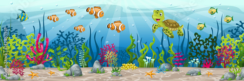 Illustration of an underwater landscape with animals and plants
