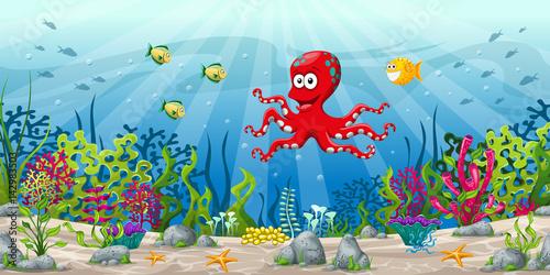 osmiorniczka,-ryby-i-ocean,-bajki,-tapeta