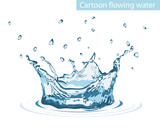 Splash of water. A cartoon. A drop. For your design.