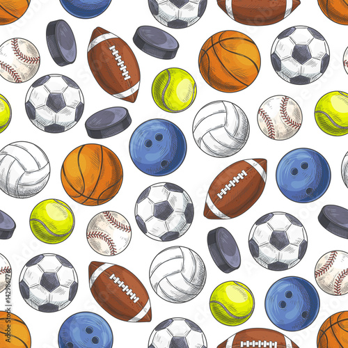 Cotton fabric Sport seamless pattern with sketch game balls