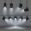 Spotlights with bright white light shining stage vector set