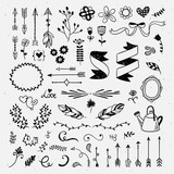 Hand drawn cute hand drawn elements. Hipster wedding card design: flowers, wreaths, ribbons and feather vintage vector illustrations - 142996331