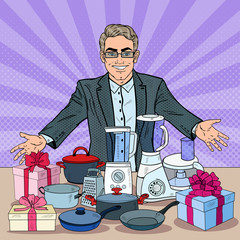 Successful Seller with Household Appliances. Big Discount. Pop Art vector illustration