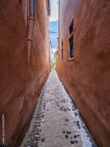 Poster Smal steegje Strada Sforii (Rope Street) is the narrowest street in Brasov, Romania, and one of the narrowest in the whole Europe, with a width between 111 and 135 centimeters