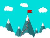 Landscape illustration. Mountains with flag. Succes. business concept