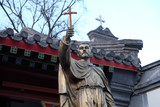 Saint Francis Xavier statue in front Saint Joseph Cathedral in Beijing, China