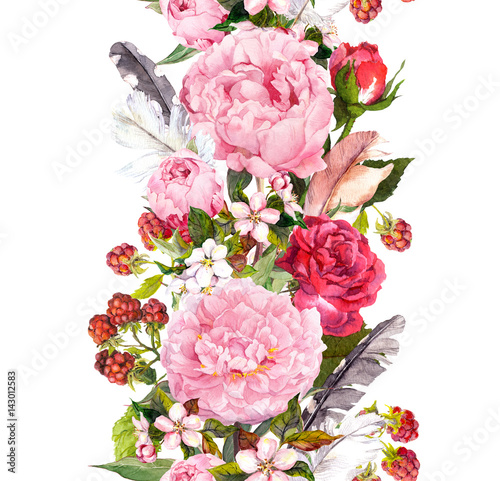 Floral border with flowers, roses, feathers. Vintage repeated strip. Watercolor - 143012583