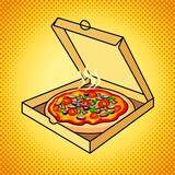 Fototapety Fresh pizza in box pop art vector illustration