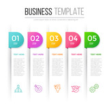 Infographic template for five options, steps or processes. Perfect for workflow layout, annual report, business concept - 143027189