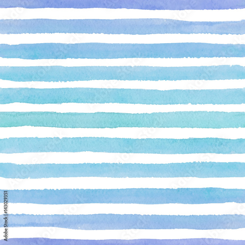 Materiał do szycia Hand drawn seamless watercolor pattern with colorful blue strokes on the white background