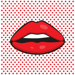 Sexy red lips on polka-dots background. Pop art lips