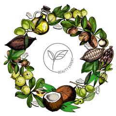 Vector set of hair care ingredients. Organic hand drawn colored elements.Macadamia, argan, coconut, cocoa, olive, jojoba wreath.