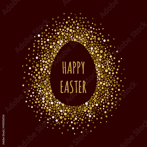 Papiers peints Visage de femme Egg dotted frame with inscription Happy Easter. Dots of various size. Vector abstract background.