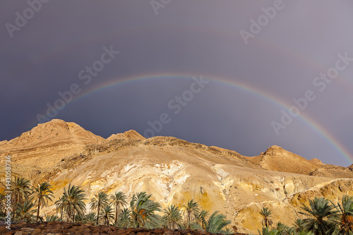 rainbow after rain over mountains oasis Shebek Tunisia Poster