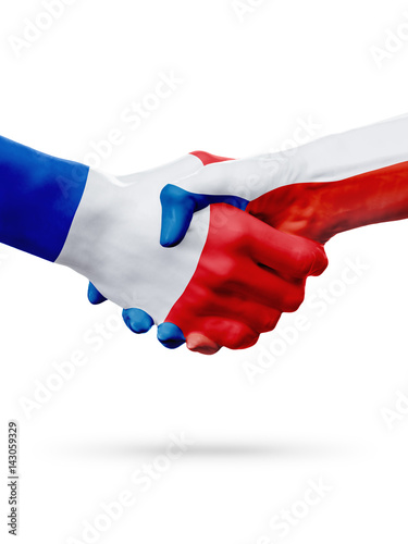 Poster Flags France, Czech Republic countries, partnership friendship handshake concept