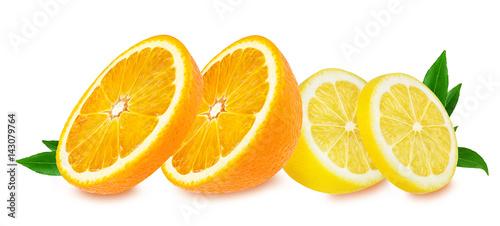owoc cytryny i pomarańczy na białym tle