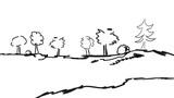 Wald Wälder Schwarz Panorama Hintergrund Banner Baum Bäume  Wall Sticker