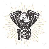 Fototapety Vector custom garage logotype with chopper engine