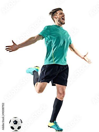 one caucasian soccer player man happy celebration isolated on white background