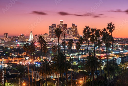 Beautiful sunset of Los Angeles downtown skyline and palm trees in foreground Poster