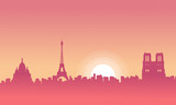 Vector illustration of Paris scenery at morning