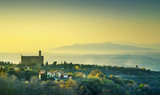 Tuscany, Volterra panoramic view and San Giusto Nuovo church at sunset. Italy
