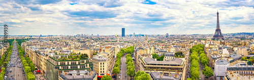 Paris, France. Panoramic view from Arc de Triomphe. Eiffel Tower and Avenue des Champs Elysees. - 143109939