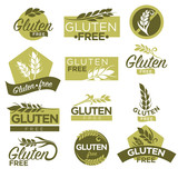 Gluten free vector healthy dietetic product icons and labels - 143111176