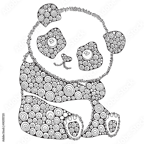 29053cf9dd9c5 Cute panda. Adult antistress coloring book page. Black and white. Zentangle  style.