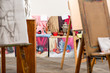 Creative studio with easels and still life for painting