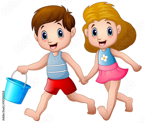 Staande foto Kinderkamer Cartoon boy and girl running