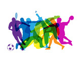 Rainbow Of Sports Silhouettes  Wall Sticker