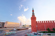 Beautiful city landscape. The Moscow River and Kremlin buildings and wall.