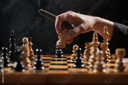 Poster Close up image of situation in chess game.