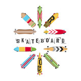 Set vector skateboard and longboard collection. Icon skate in flat style.