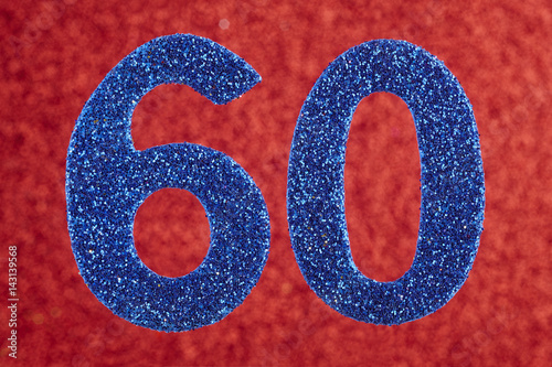 Number sixty blue color over a red background. Anniversary. Poster