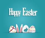 Fototapeta Easter poster with eggs and rabbit ears. Blue background. Vector illustration.