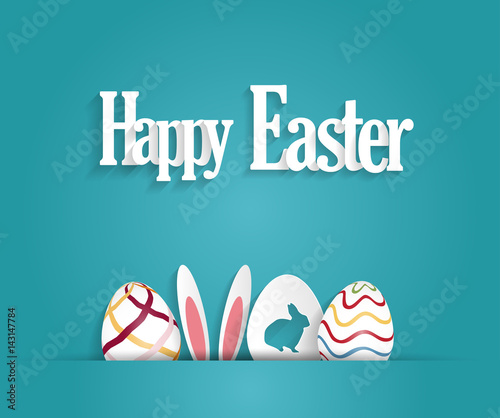 Easter poster with eggs and rabbit ears. Blue background. Vector illustration.